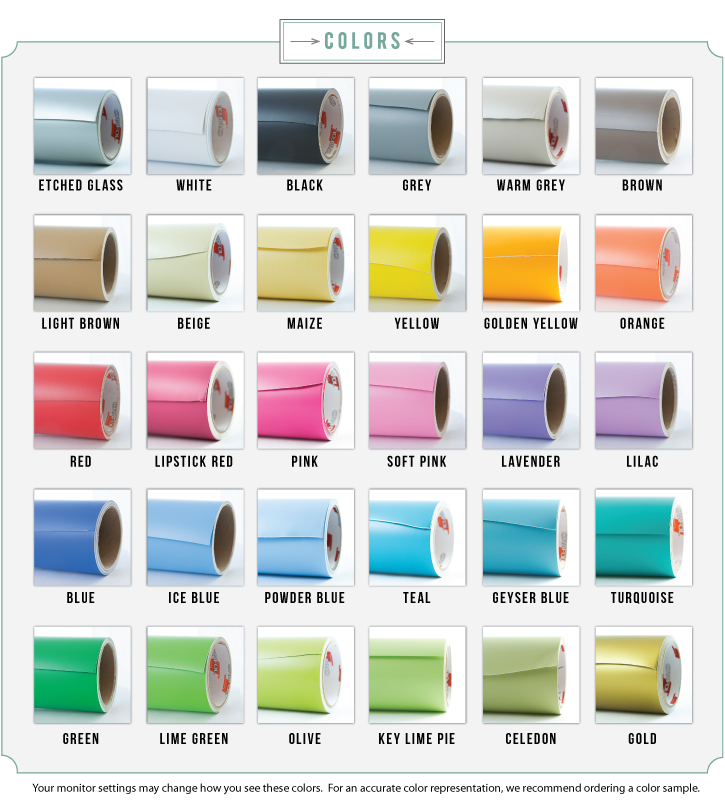Different colors available for Wall Decals
