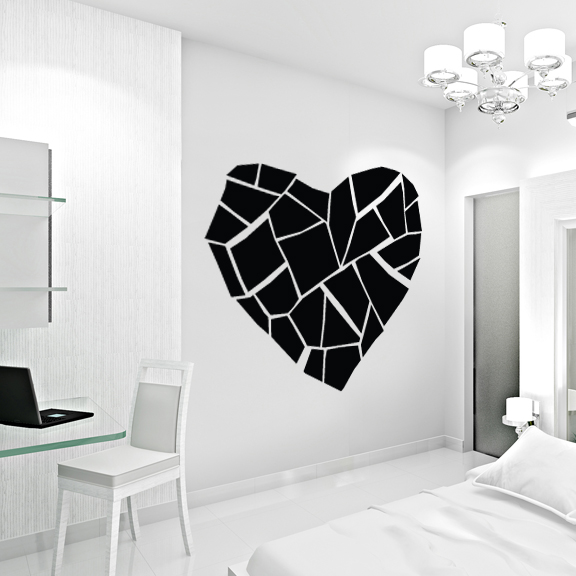 Abstract broken heart wall decal sticker for Broken glass mural