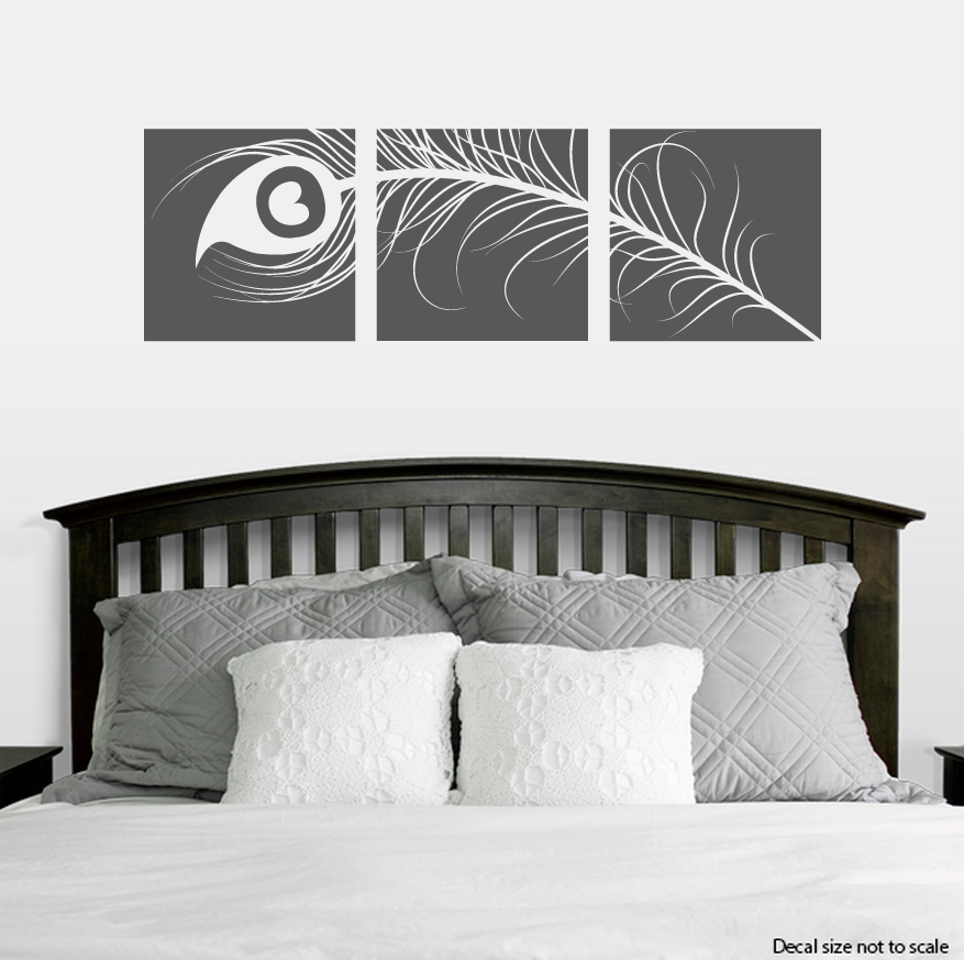 peacock feather triptych wall decal sticker. Black Bedroom Furniture Sets. Home Design Ideas