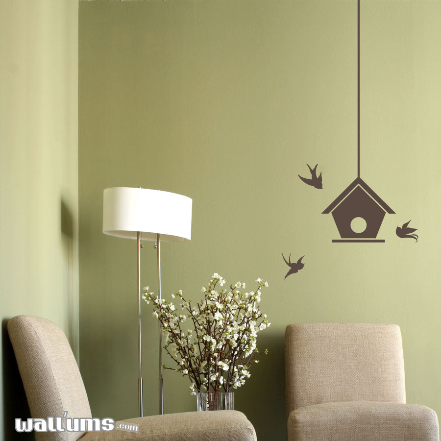 Bird house with swallows wall decal sticker bird house with swallows wall decal amipublicfo Images