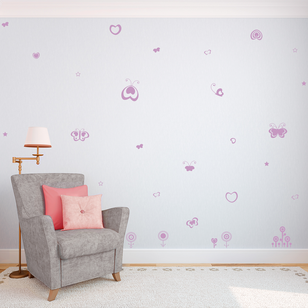 Stars, Flowers, Butterflies And Hearts Wall Decal ...