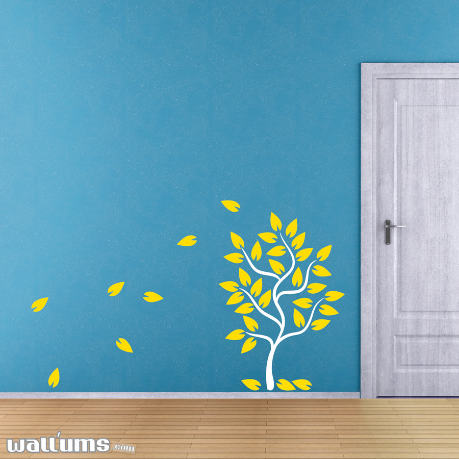 Fall Tree With Leaves Blowing Wall Decal Tree With Leaves Blowing Off Wall  Decal Will ... Part 83
