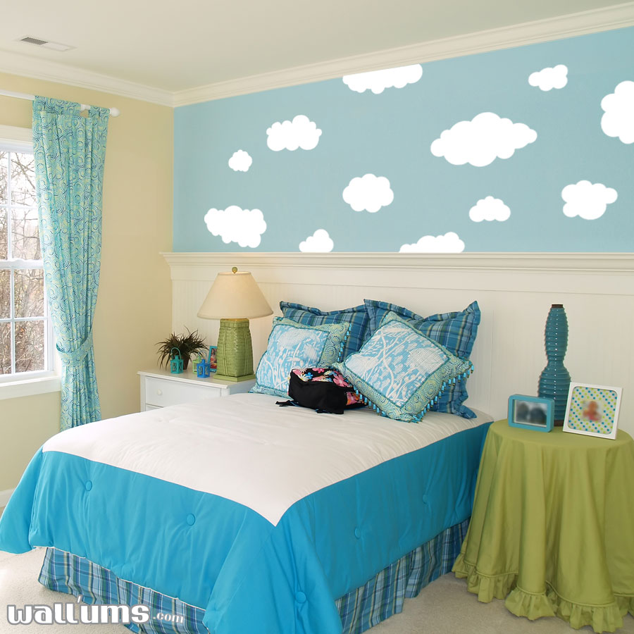 Fluffy Clouds Vinyl Wall Decal Sticker - Wallums wall decals