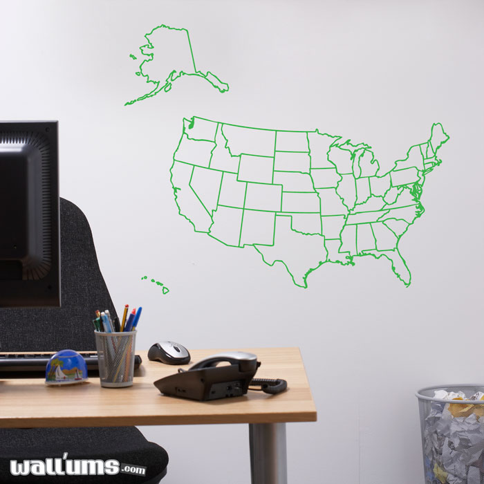 US Map Outline Wall Decal Sticker - Us map wall decal