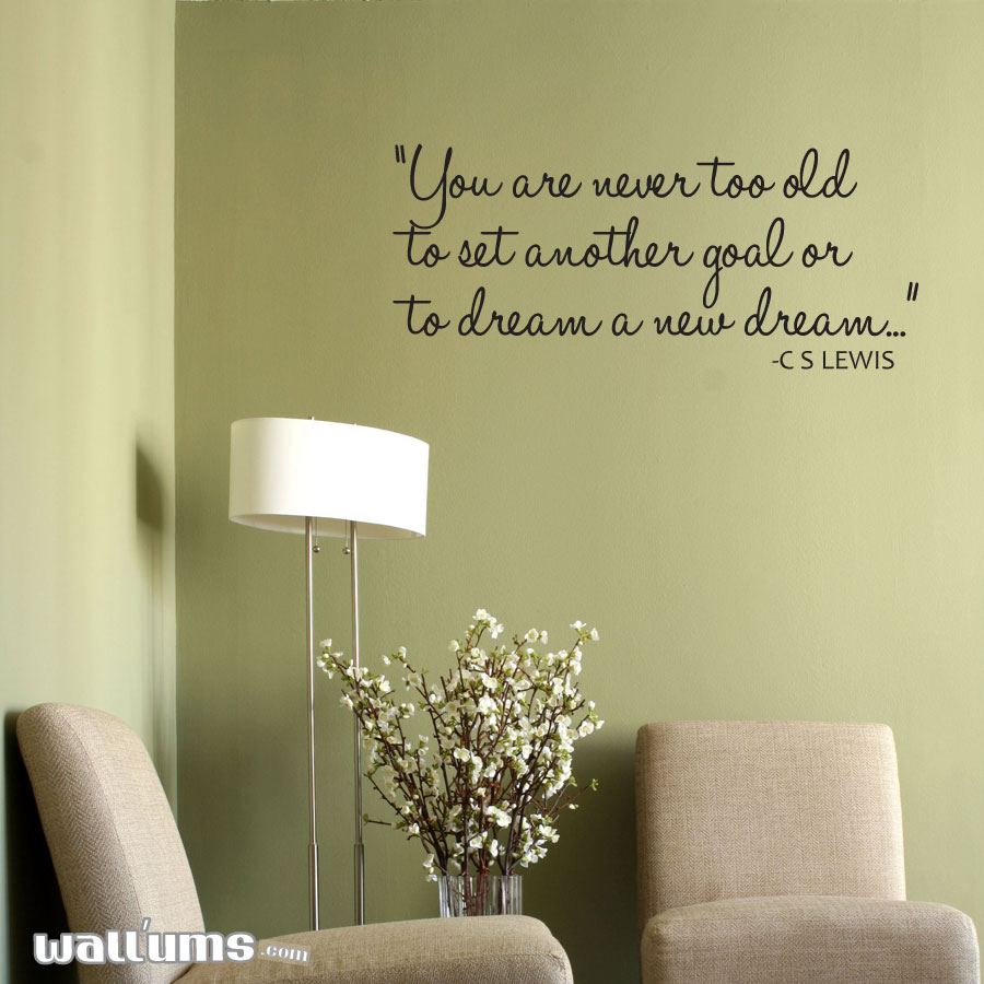 Wall Decals Quotes: You Are Never Too Old Too Wall Quote Decal Sticker