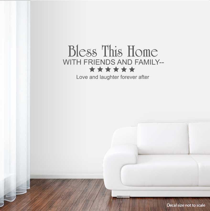 Bless This Home With Friends And Family... Wall Art Decal ...