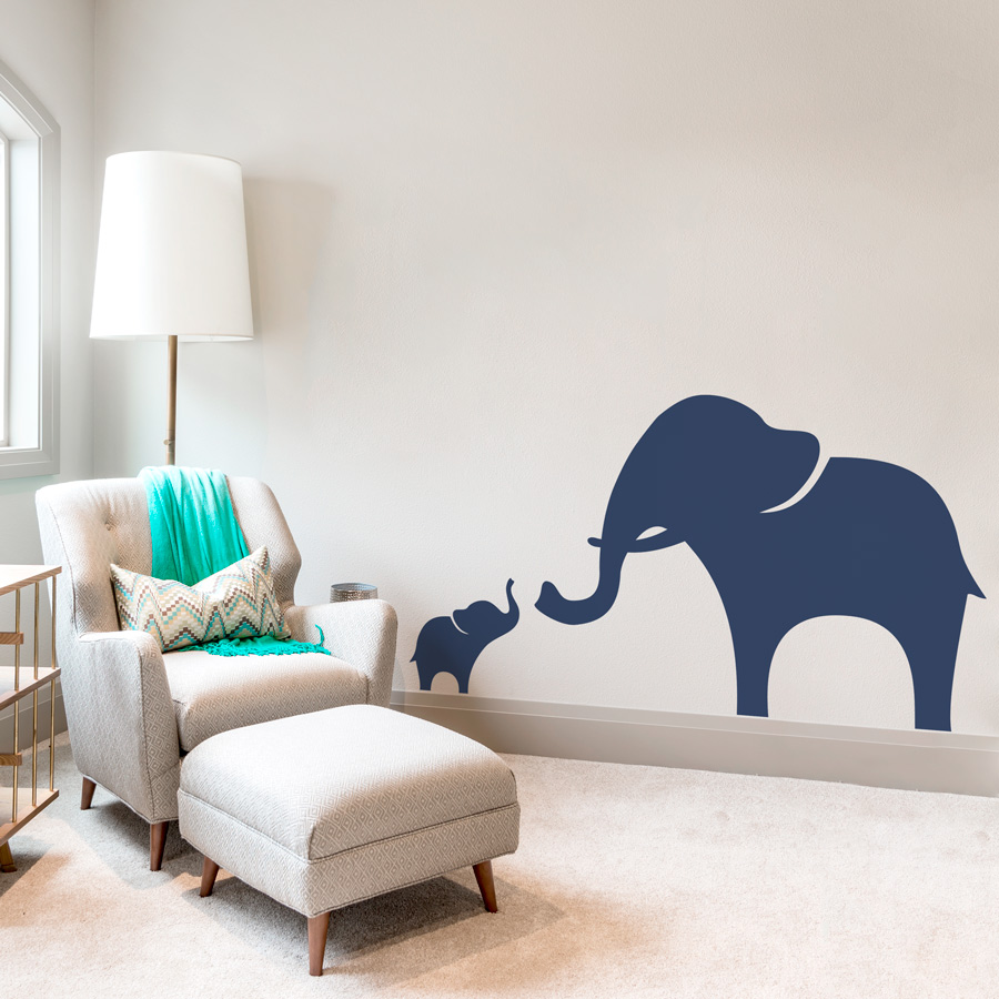 Mama And Baby Elephant Wall Decal - Elephant wall decals