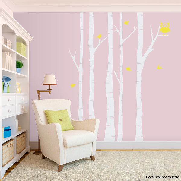 Birch Trees With Owl And Birds Wall Decal - Yellow bird wall decals