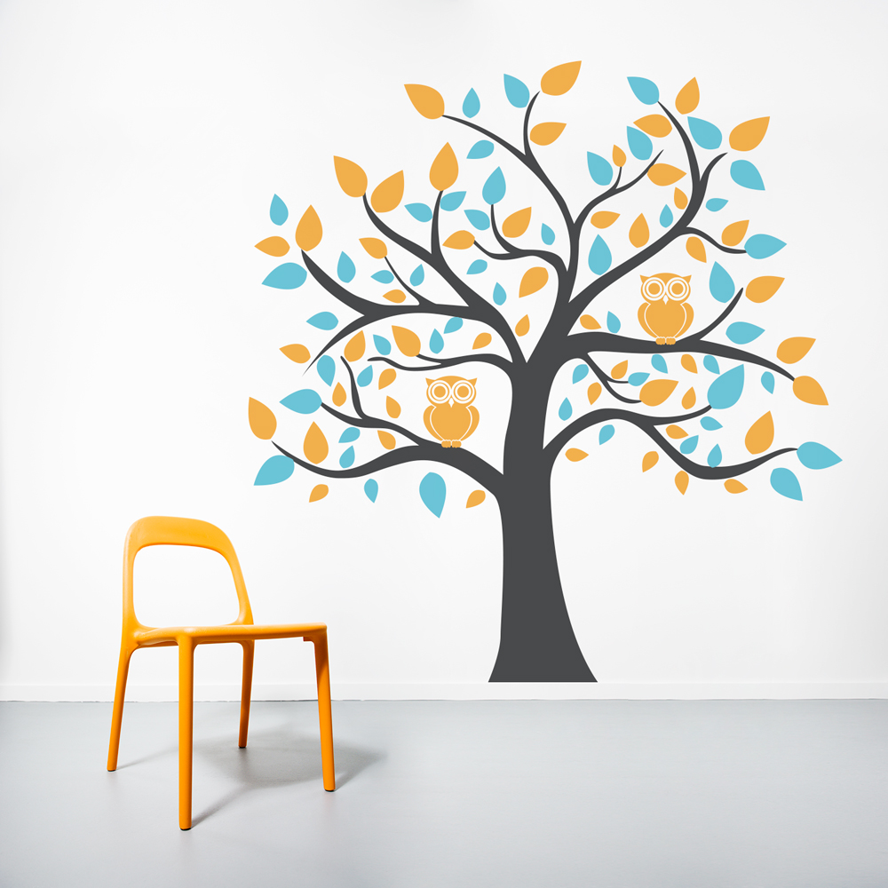 Design Tree Wall Decals bright owl tree wall decal