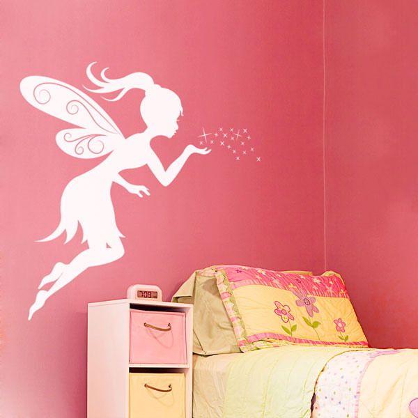 pics photos fairy girl wall decal jpg bambizi white wall stickers fairy design flower