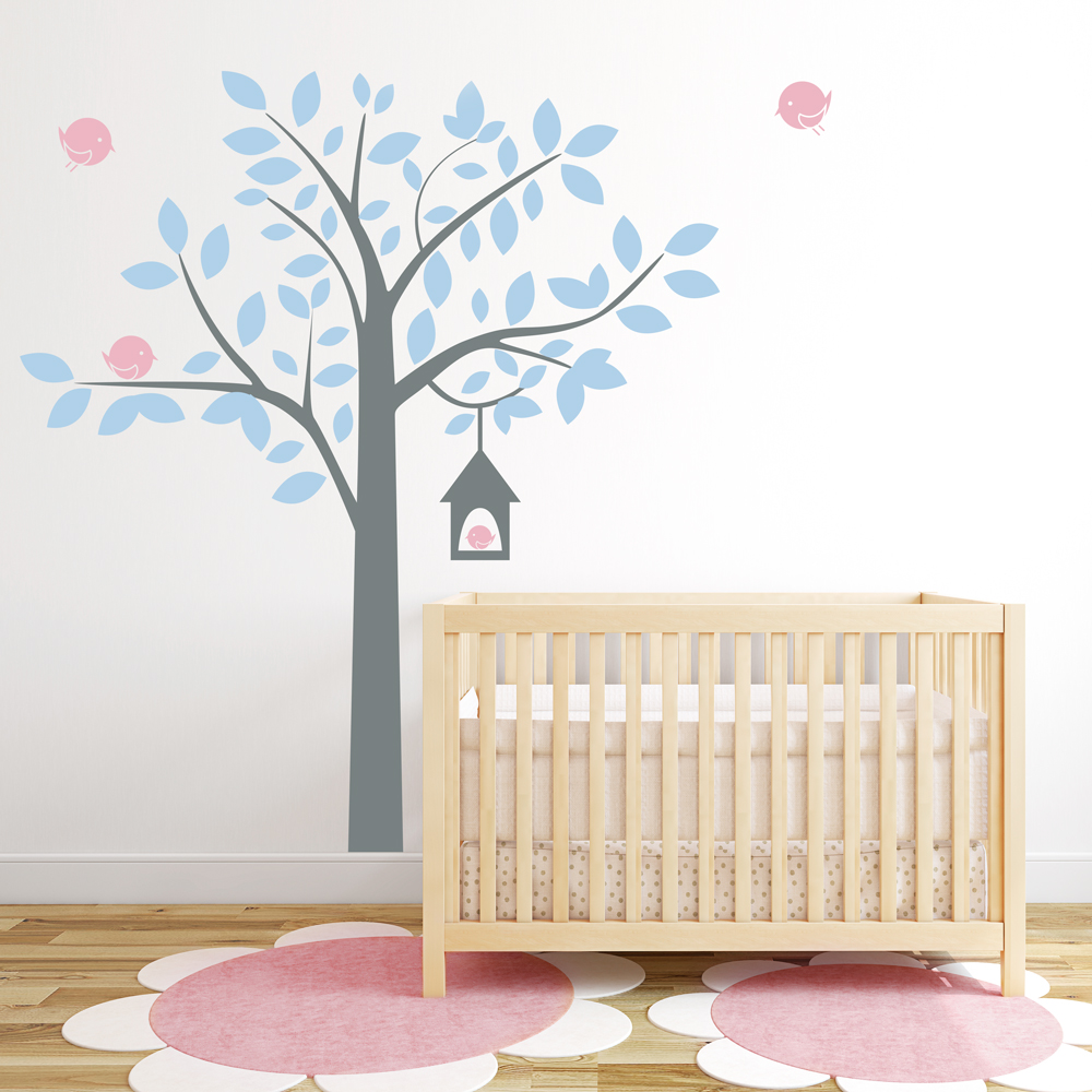 Captivating Four Bird Tree Wall Decal Part 17