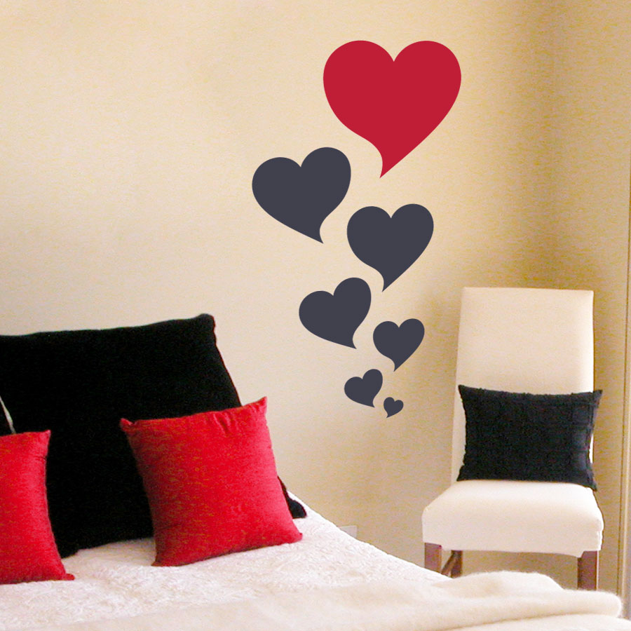 Heart bubbles wall art decal - Heart wall decoration ...