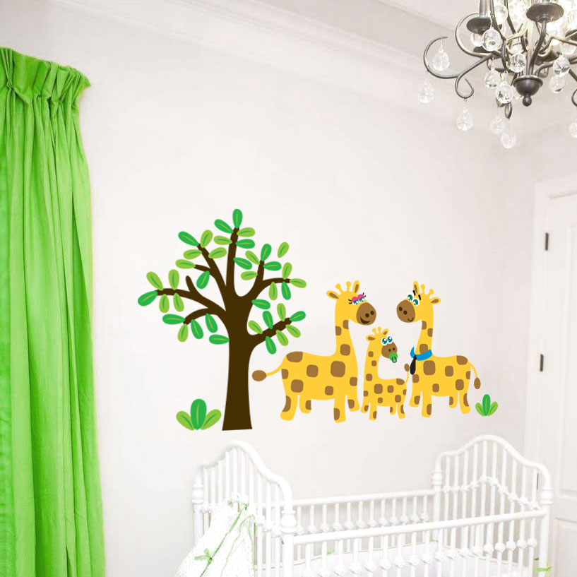 Giraffe Family Jungle Wall Decal - Wall decals jungle