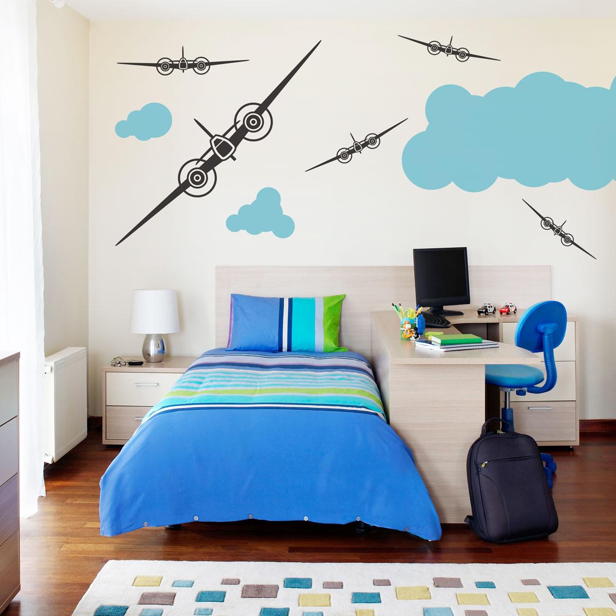 Military jets wall decal - Deco kamer volwassen blauw ...