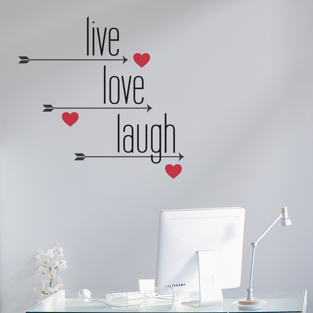 live love laugh arrows and hearts wall decal. Black Bedroom Furniture Sets. Home Design Ideas