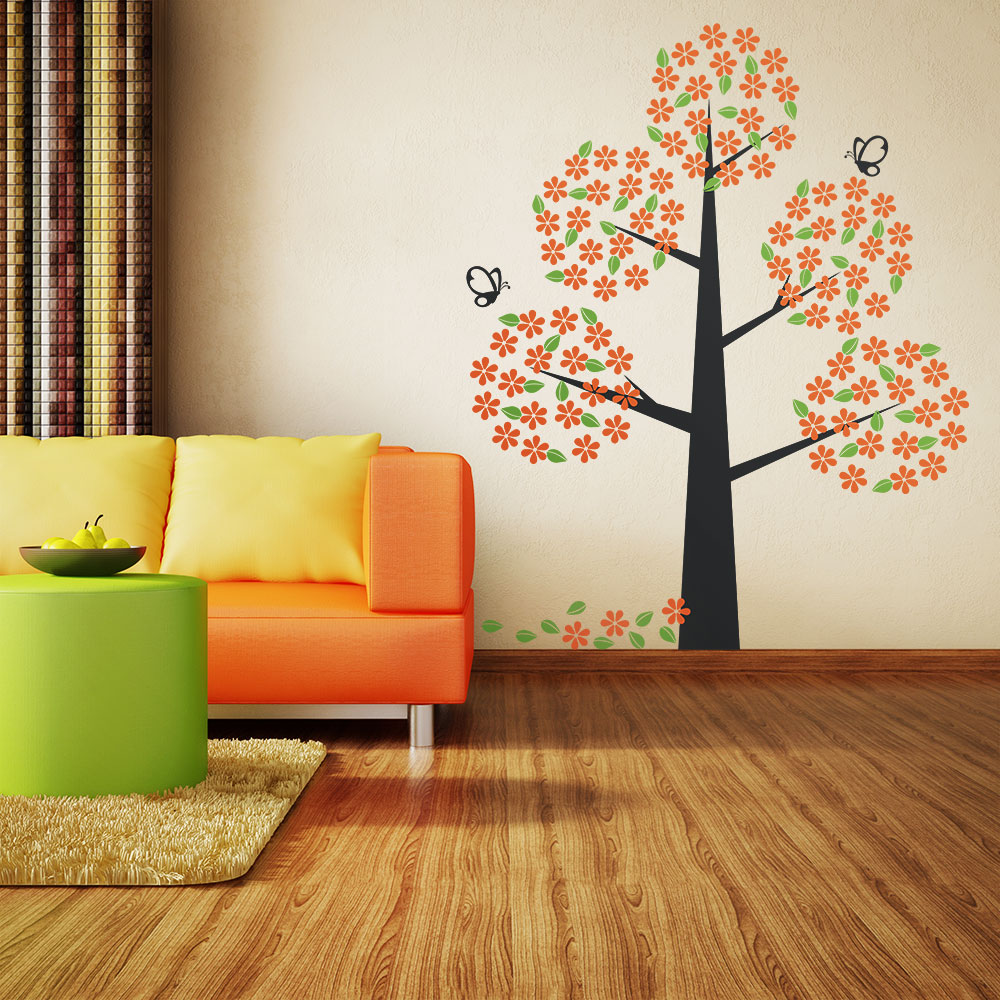 Orange bloom tree wall decal amipublicfo Images