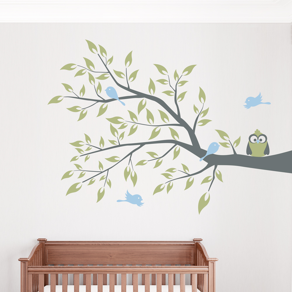 Owl and four birds on a branch wall decal for Bird and owl tree wall mural set