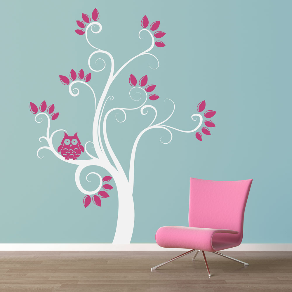 Swirly Owl Tree Wall Decal