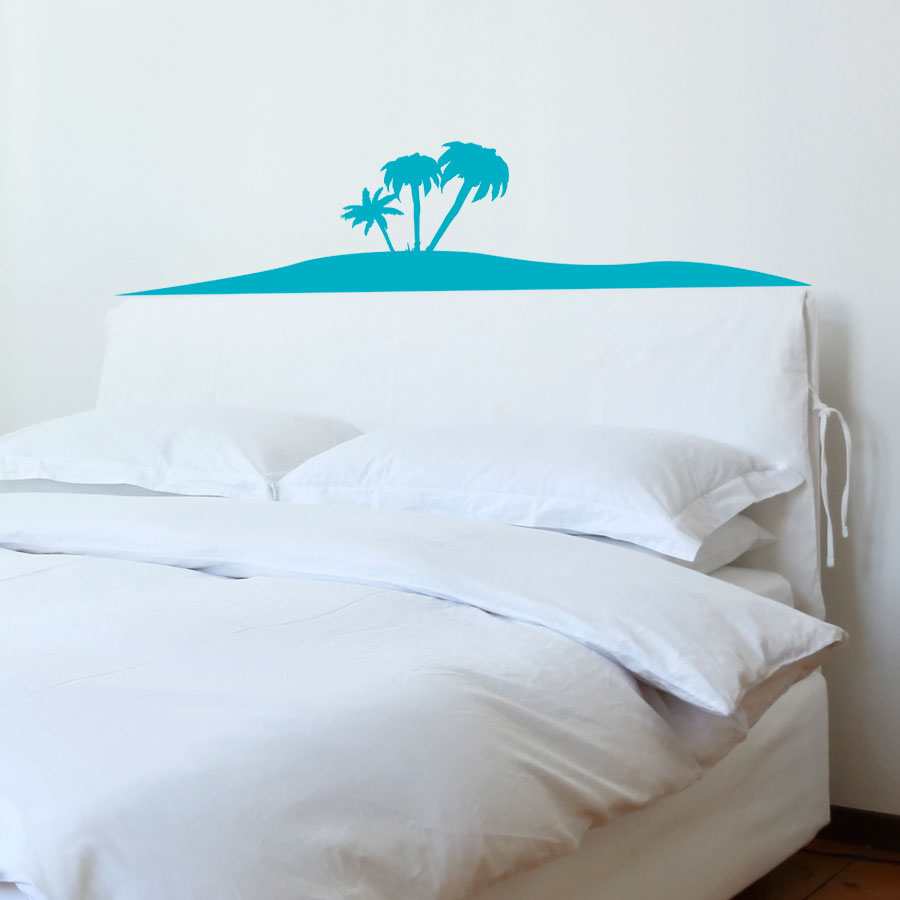 Palm Tree Bedroom Furniture Island Palm Trees Headboard Wall Decal