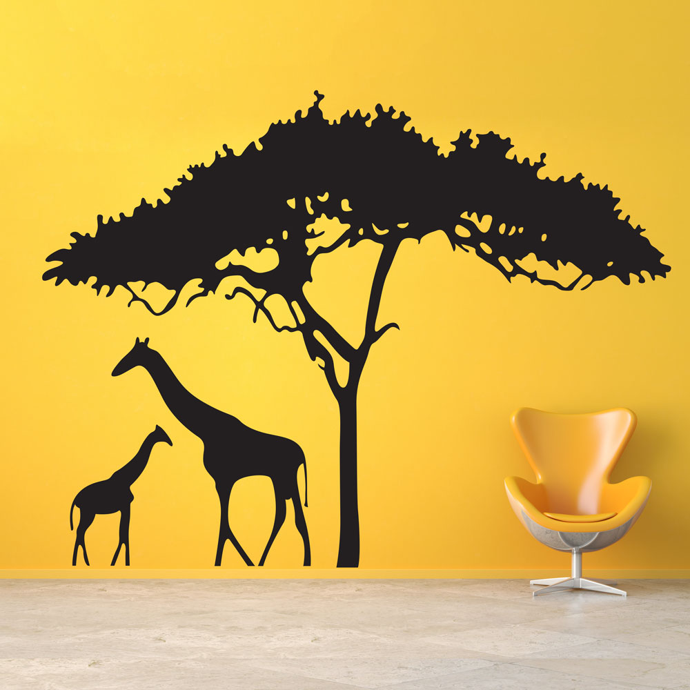 giraffe wall decal safari wall sticker wallums. Black Bedroom Furniture Sets. Home Design Ideas
