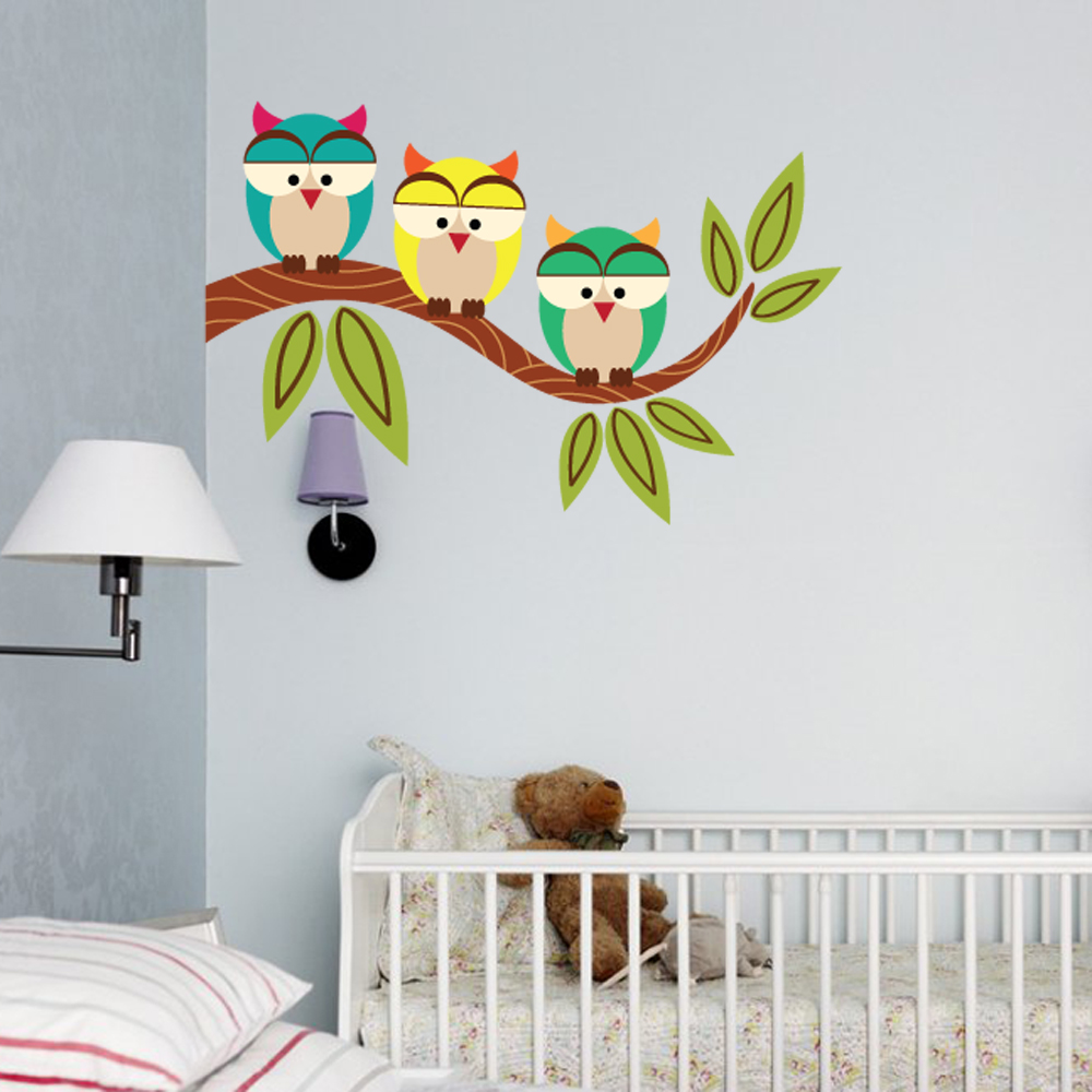 three owls wall decal. Black Bedroom Furniture Sets. Home Design Ideas