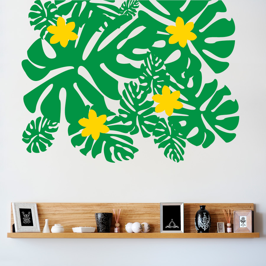 Tropical Leaves And Flowers Wall Decal Sticker - Wall decals leaves