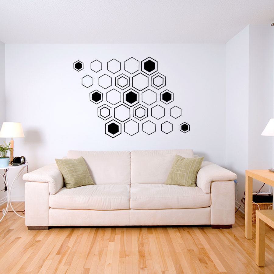 Genial Geometric Hex Wall Decal ...