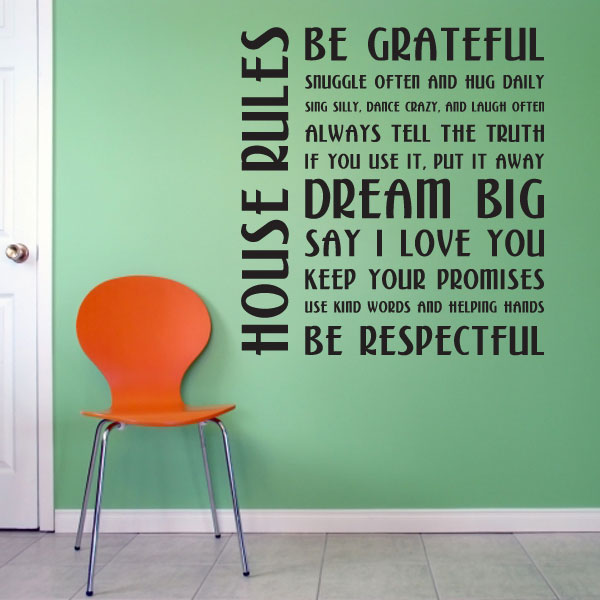 House Rules Wall Decal Sticker - How do you put a wall sticker on