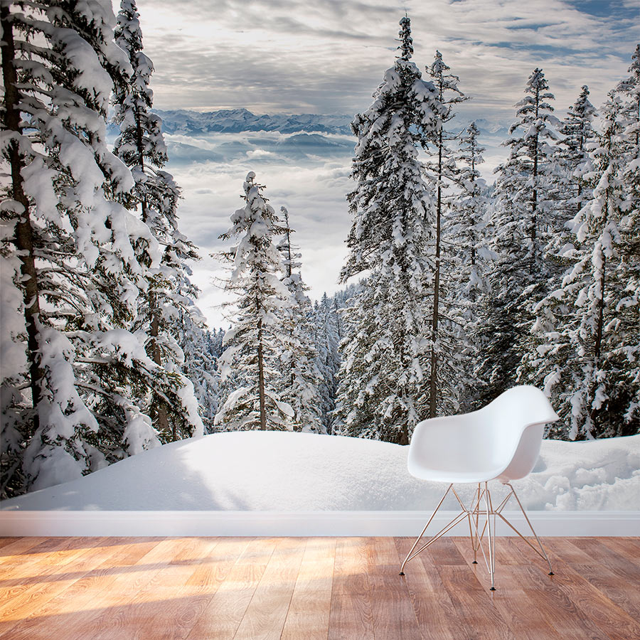 Forest Wall Murals alps winter forest wall mural