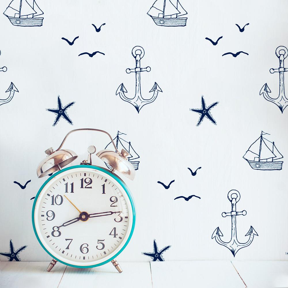 handdrawn nautical removable wallpaper tile
