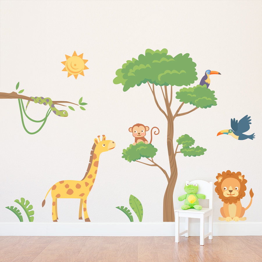 jungle safari printed wall decal. Black Bedroom Furniture Sets. Home Design Ideas