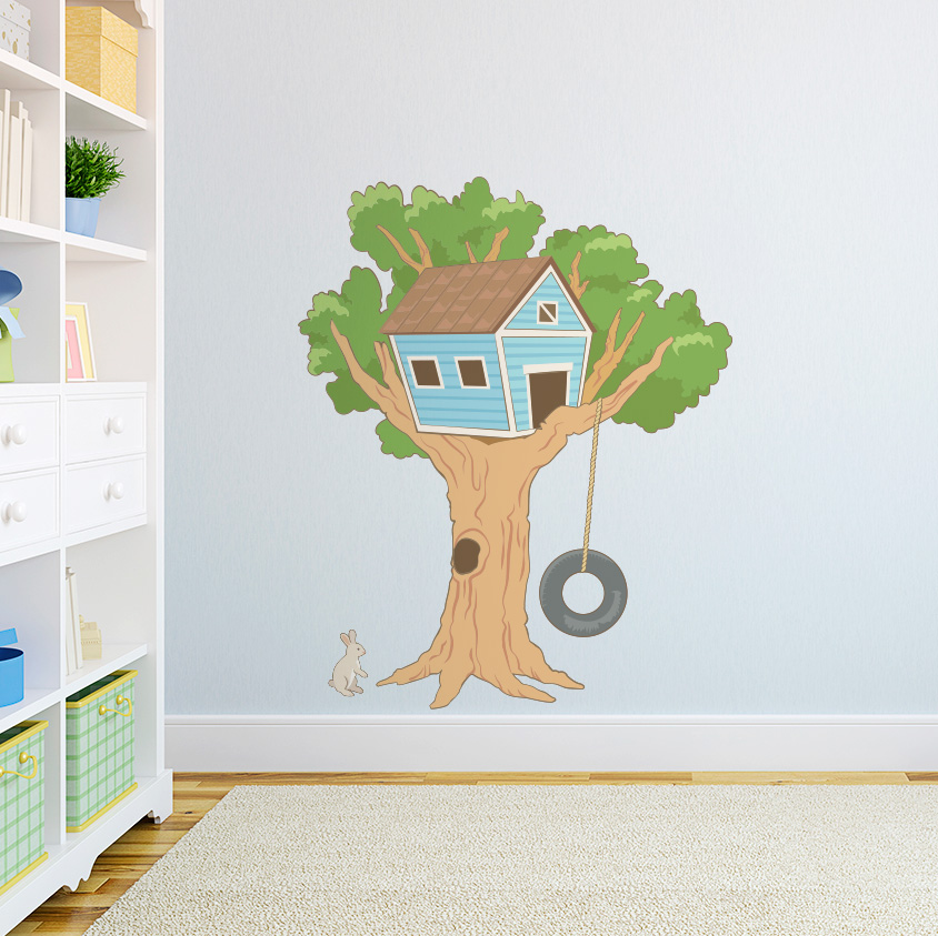 Kids Tree House Printed Wall Decal - Kids tree wall decals