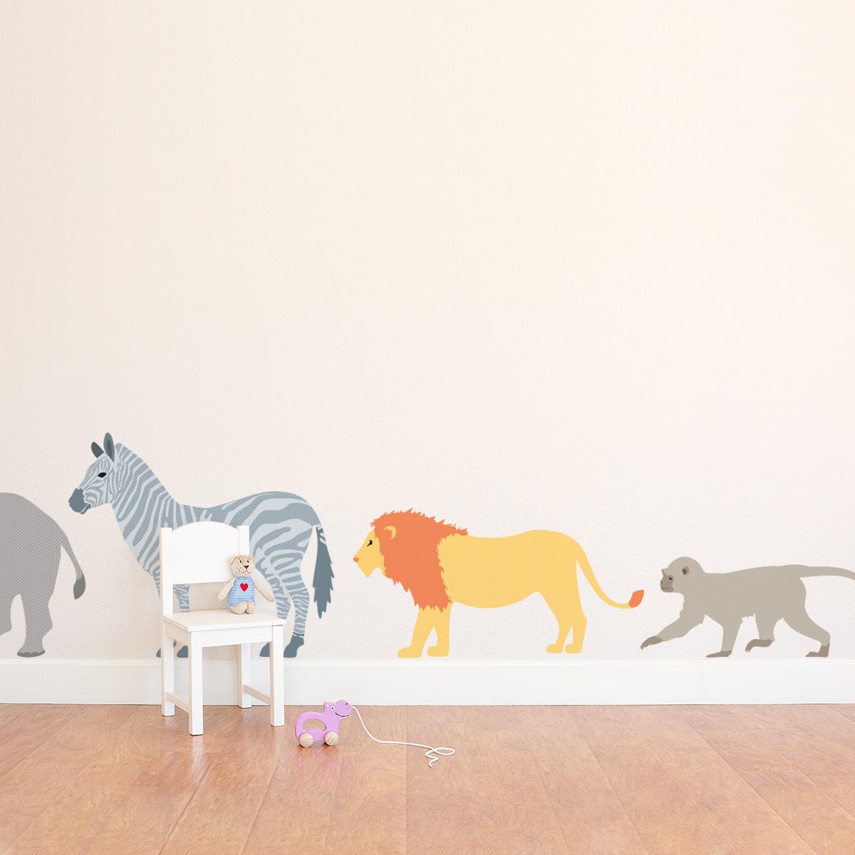patterned safari animals printed wall decal set