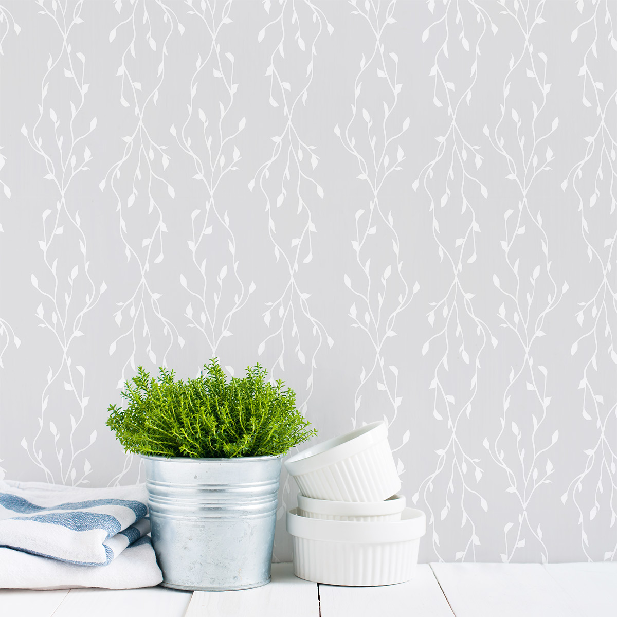 """Removable Wallpaper Tiles clearance] 24"""" neverending vines removable wallpaper tile"""