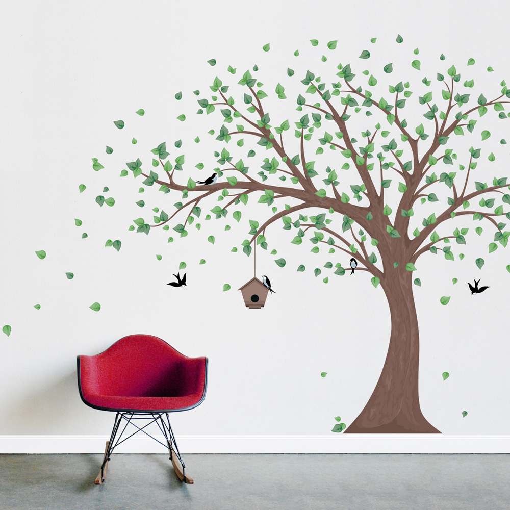 Printed windy tree with birdhouse wall decal for Christmas wall mural plastic