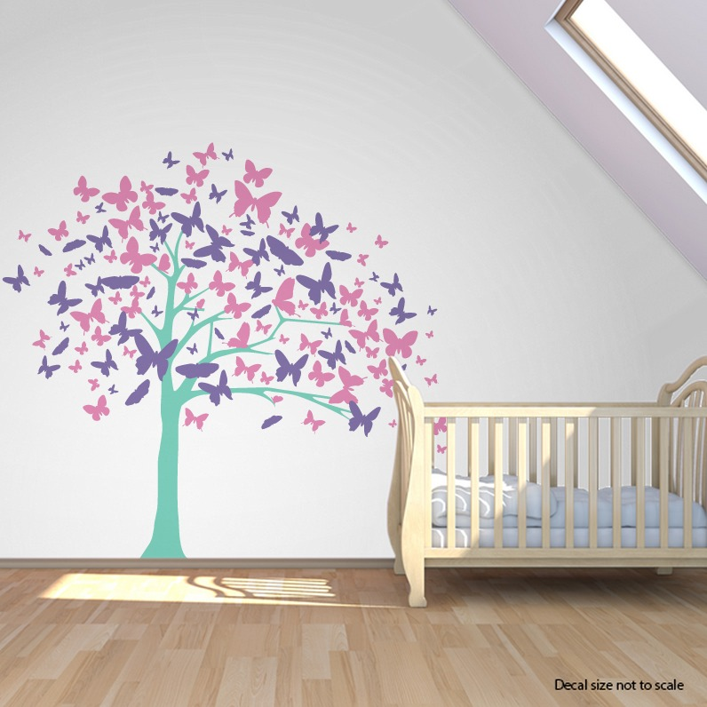 CLEARANCE Mint  Butterfly Tree Wall Decal - Wallums wall decals