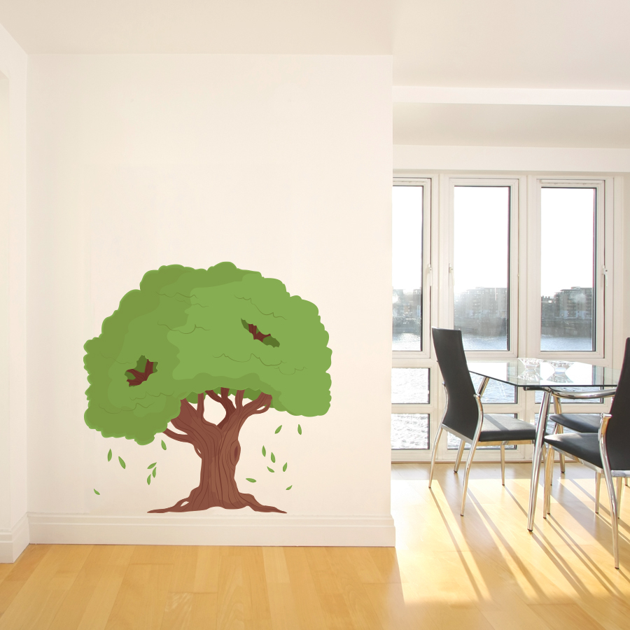 Falling Leaves Printed Tree Wall Decal - Wall decals leaves