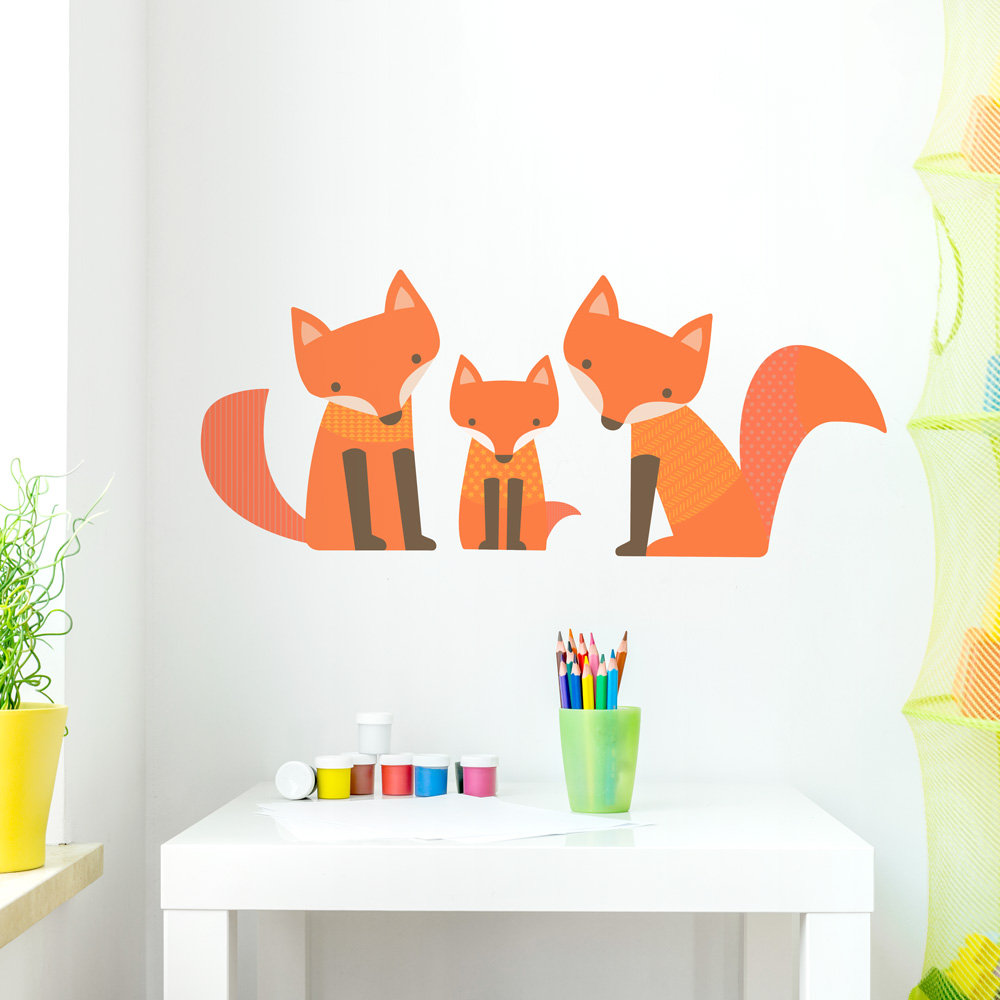 Fox Family Printed Wall Decal - Wall decals about family
