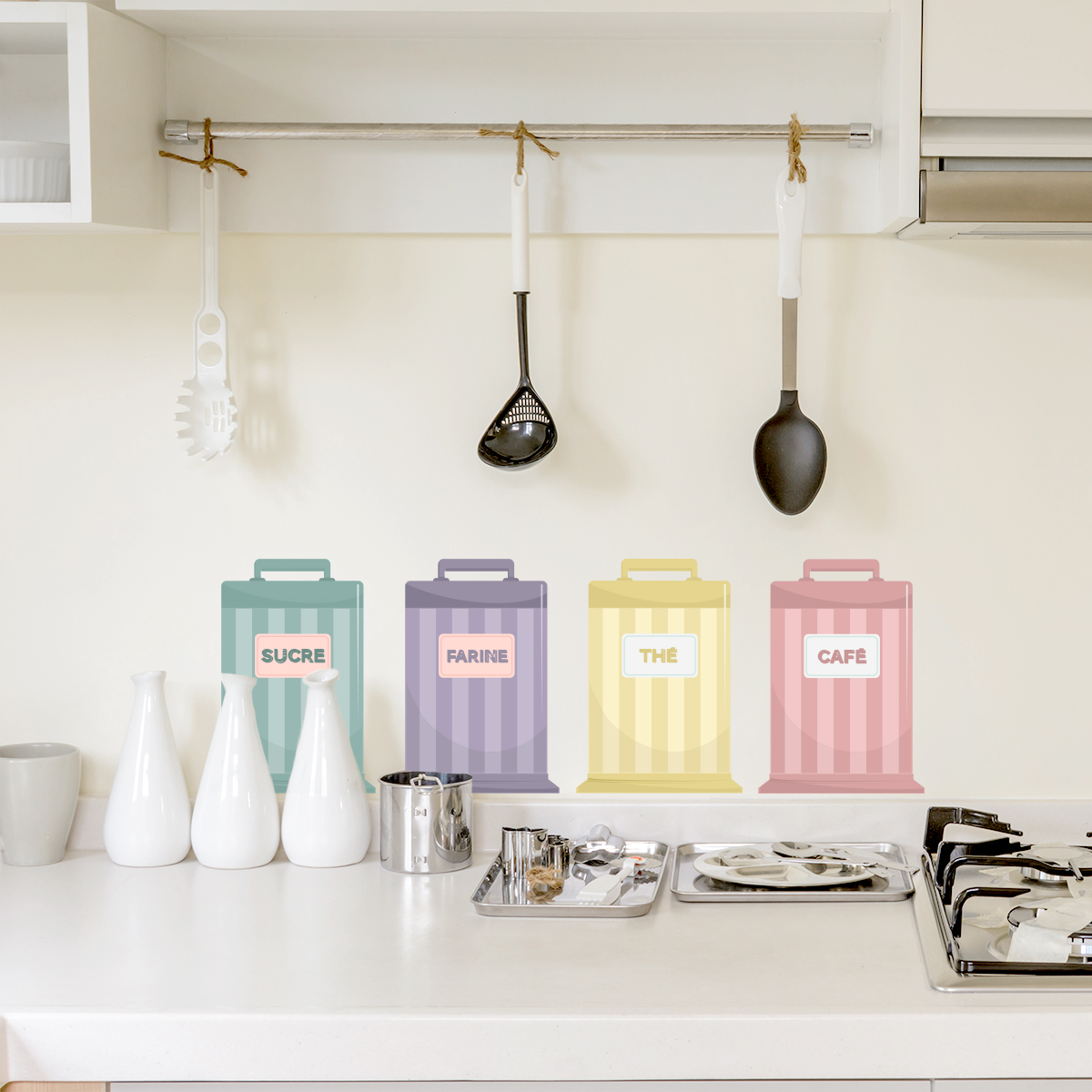 French Kitchen Tins Printed Wall