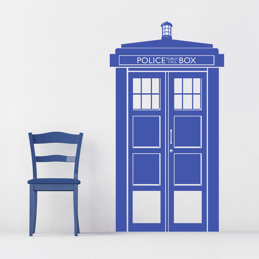 police call box tardis wall decal. Black Bedroom Furniture Sets. Home Design Ideas