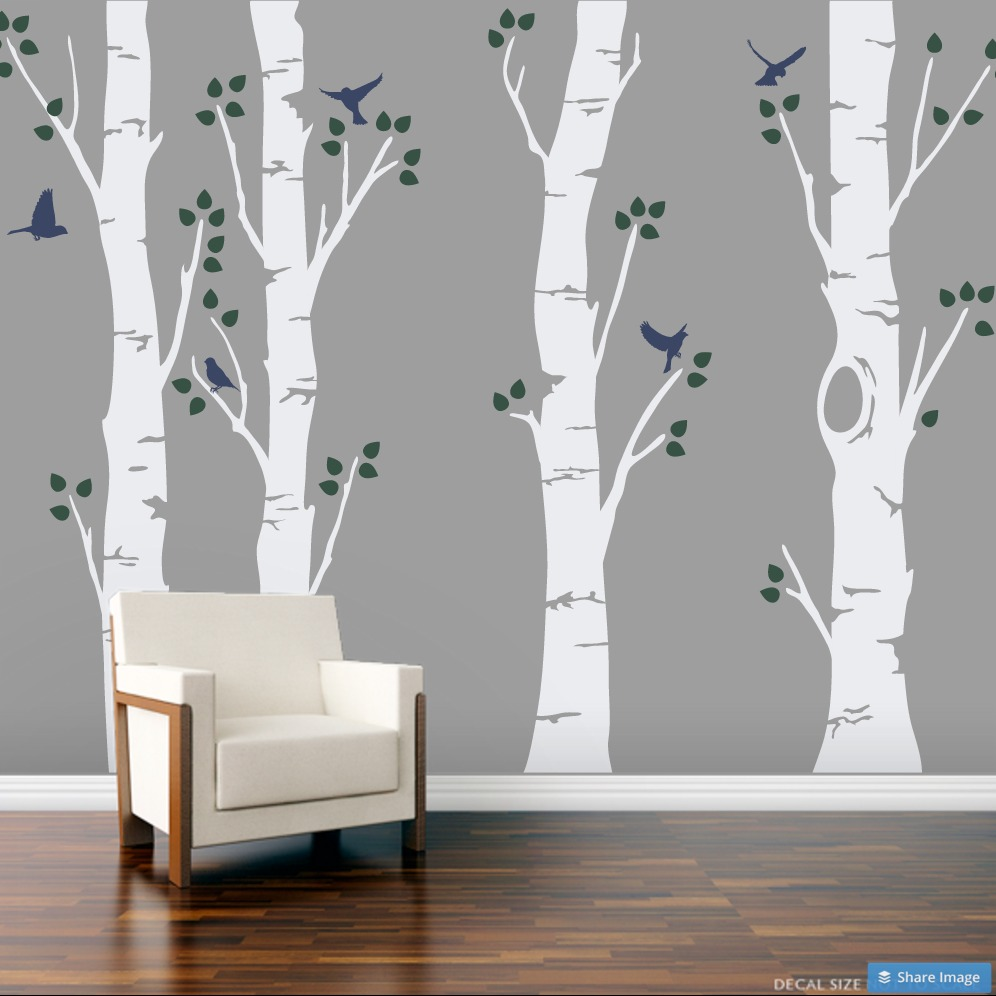 Clearance 60 tall wide birch trees wall decal with white trees clearance 60 wide birch trees wall decal with white trees dark green amipublicfo Choice Image