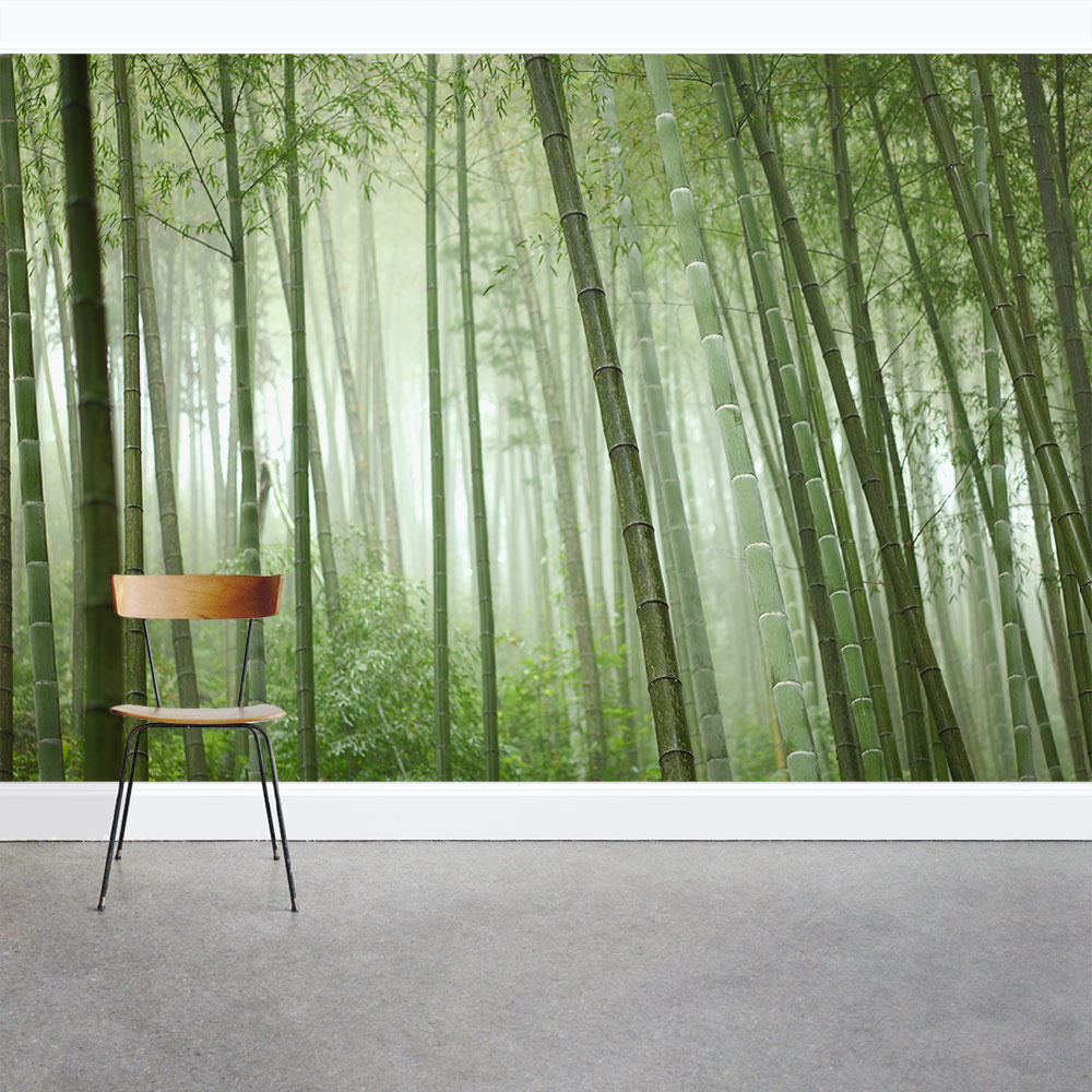 Bamboo grove wall mural for Bamboo forest mural