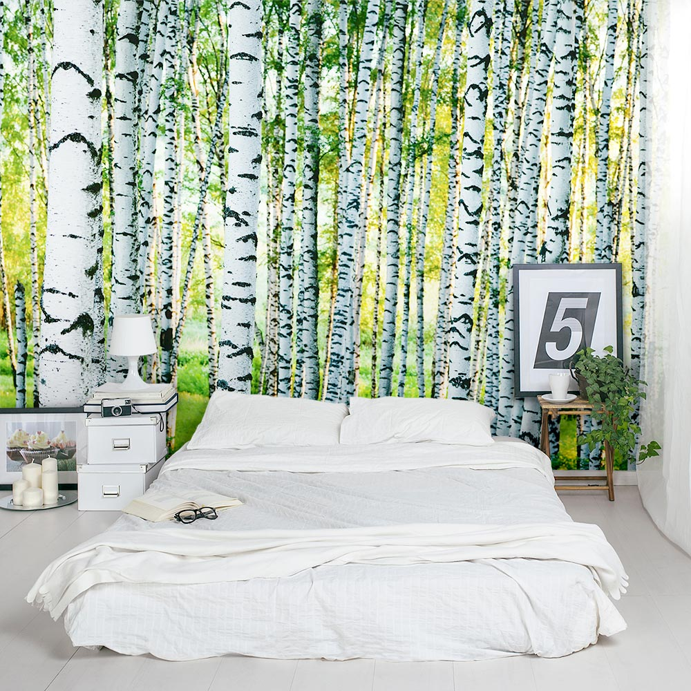 Dense birch tree forest wall mural for Birch tree forest wall mural