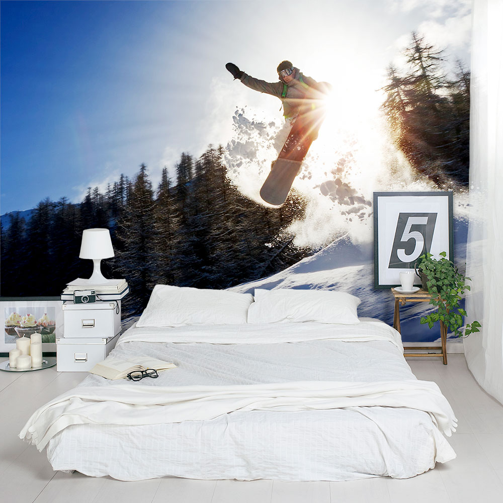 Snowboard jump wall mural amipublicfo Image collections