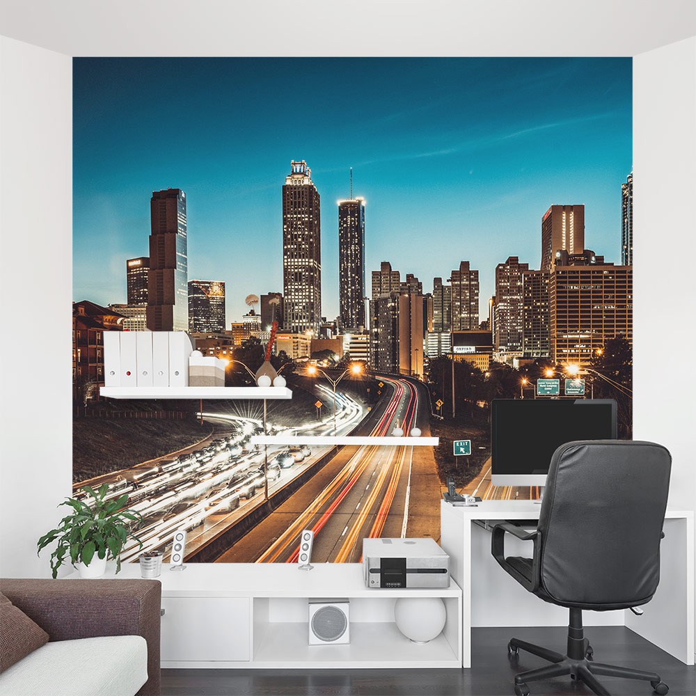 Atlanta cityscape wall mural for Cityscape murals photo wall mural