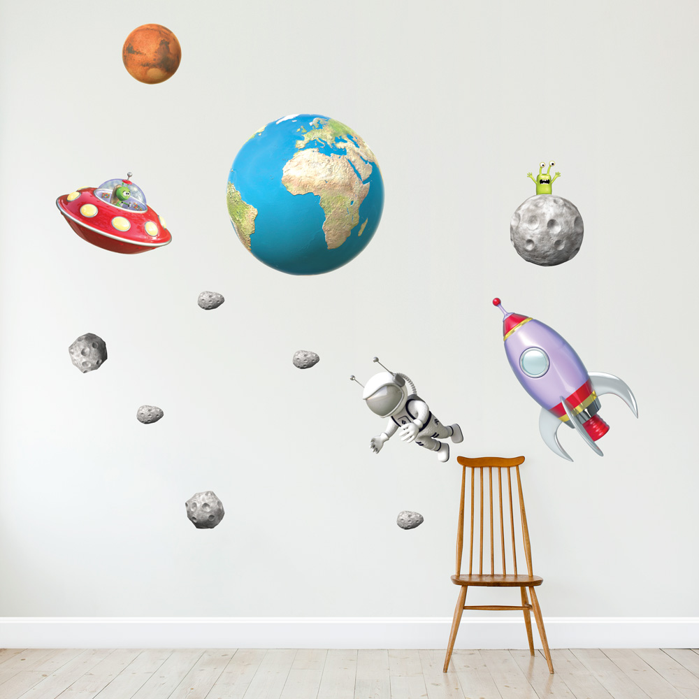 3d outer space set wall decal for Outer space urban design