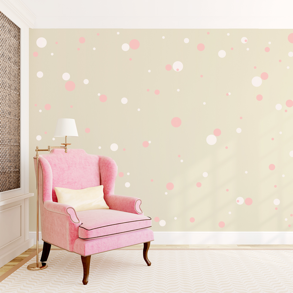 2 color polka dots wall decal for How to make polka dots on wall