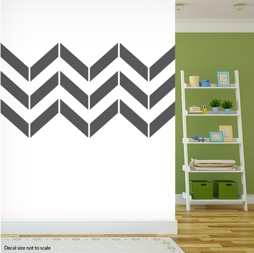 "Clearance Wall Art clearance] dark grey 48"" chevron stripes wall art decal"