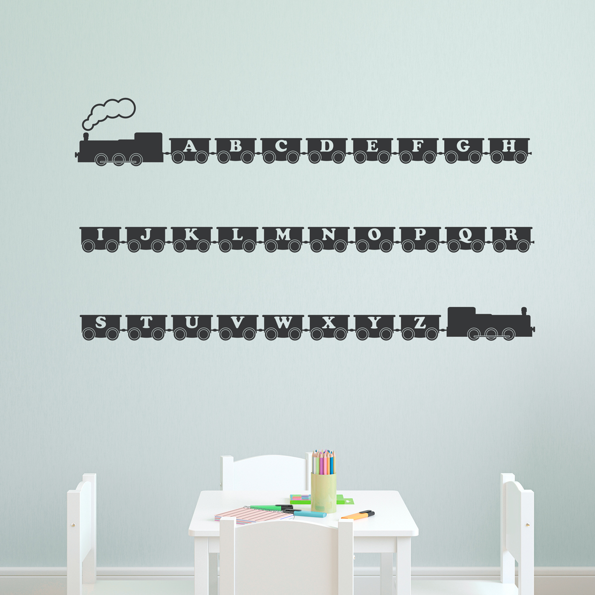 Train wall decals roselawnlutheran alphabet train wall decal amipublicfo Gallery