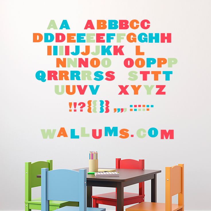 Moveable Alphabet   Printed Wall Decals